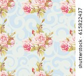 seamless floral pattern with... | Shutterstock .eps vector #615822437