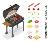 barbecue isometric view... | Shutterstock .eps vector #615827237