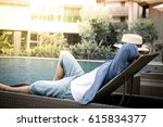 relax in the pool. young and... | Shutterstock . vector #615834377