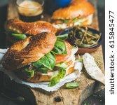 breakfast with bagels with... | Shutterstock . vector #615845477