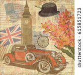 london vintage postcard. | Shutterstock . vector #615851723