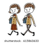 male students and girls... | Shutterstock .eps vector #615863633
