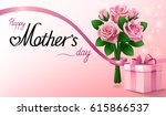 happy mothers day. gift box and ... | Shutterstock .eps vector #615866537