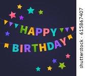 happy birthday card.... | Shutterstock .eps vector #615867407