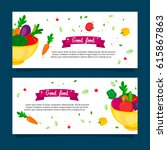 good vegetables banners set... | Shutterstock .eps vector #615867863