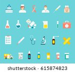 set of colored medical icons in ... | Shutterstock .eps vector #615874823
