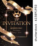 vip banner with sparkling gold  ... | Shutterstock .eps vector #615891953
