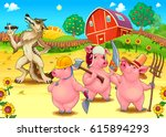 three little pigs and bad wolf. ... | Shutterstock .eps vector #615894293