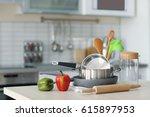 kitchen utensils  cookware and... | Shutterstock . vector #615897953