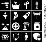 silhouette icons set. set of 16 ... | Shutterstock .eps vector #615898997