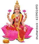 hindu goddess lakshmi of wealth ... | Shutterstock .eps vector #615901493