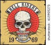 vintage print design of skull... | Shutterstock .eps vector #615905273
