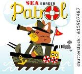 fox on warship patrol  vector... | Shutterstock .eps vector #615907487