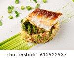 fine dining  fish fillet... | Shutterstock . vector #615922937