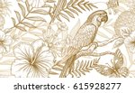 Flowers and birds seamless pattern. Hand drawing of wildlife. Print gold foil on white background. Exotic plants, parrots. Vector illustration art. Template for luxury fabrics, paper, summer textiles. | Shutterstock vector #615928277