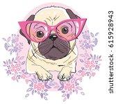 Stock vector bulldog with glasses vector illustration 615928943