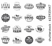 farm black monochrome badges... | Shutterstock .eps vector #615935447