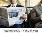 businessman reading a business... | Shutterstock . vector #615941693