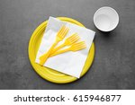 yellow plastic disposable... | Shutterstock . vector #615946877