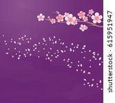 branches of sakura and petals...   Shutterstock .eps vector #615951947
