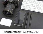 photographers desk closeup | Shutterstock . vector #615952247