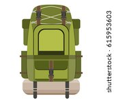 camping backpack isolated on...   Shutterstock .eps vector #615953603