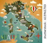 colorful italy travel map with...