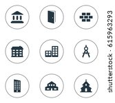 set of 9 simple construction... | Shutterstock . vector #615963293