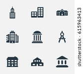 set of 9 simple construction... | Shutterstock . vector #615963413