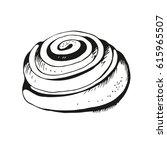 cinnamon roll hand drawn... | Shutterstock . vector #615965507