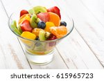 Fruit Salad In Crystal Bowl On...