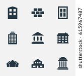 set of 9 simple construction... | Shutterstock . vector #615967487