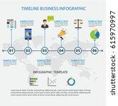 colorful timeline business... | Shutterstock .eps vector #615970997