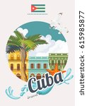 welcome to cuba  travel poster... | Shutterstock .eps vector #615985877