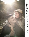 happy couple enjoying in the... | Shutterstock . vector #615993677