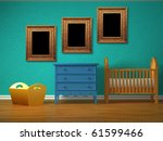 baby bedroom with a crib and... | Shutterstock . vector #61599466