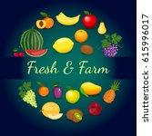 fresh organic food  healthy... | Shutterstock .eps vector #615996017