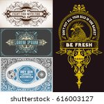 set of 3 old cards | Shutterstock .eps vector #616003127