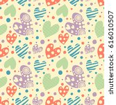 seamless pattern with hearts.... | Shutterstock . vector #616010507