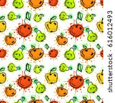 seamless pattern. hand drawn... | Shutterstock . vector #616012493