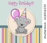 greeting card cute bear with... | Shutterstock .eps vector #616016153