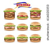 fast food realistic burger...   Shutterstock .eps vector #616020353