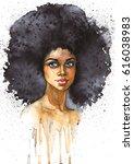 watercolor beauty african woman....   Shutterstock . vector #616038983