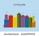 cityscape with skyscrapers.... | Shutterstock .eps vector #616059353