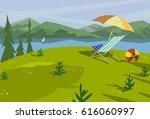 summer nature landscape.... | Shutterstock .eps vector #616060997