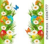 easter eggs borders with... | Shutterstock .eps vector #616067777