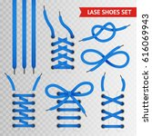 blue lace shoes icon set with... | Shutterstock .eps vector #616069943