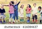 group of kindergarten kids... | Shutterstock . vector #616084637