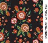 embroidery flower design...   Shutterstock .eps vector #616087553