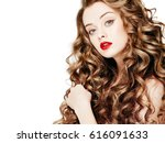 curly long hair woman beautiful ... | Shutterstock . vector #616091633